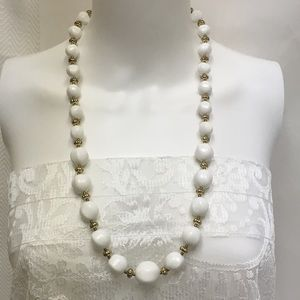 White Lucite Vintage Beaded Necklace